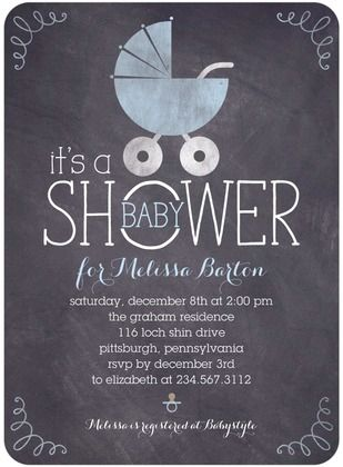 Baby Shower Invitations Chalkboard Buggy - Front : Stream