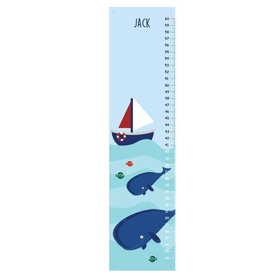 Personalized Whale Canvas Growth Chart A growth chart is a great childhood keepsake! This growth chart is perfect for your little boy on the go! This personalized growth chart is features all of his favorite animals! This fun growth chart will make an exciting change in your kids or