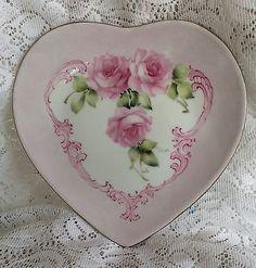 cuore con rose - piatto in porcellana