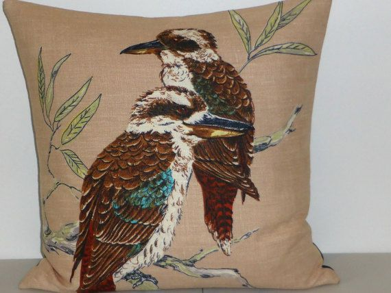 Kookaburra Cushion Cover Kingfisher Pillow Cover by Lapideum