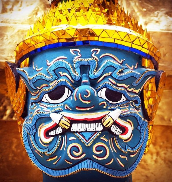 Hanuman Mask used in traditional Thai dance/drama performances such as the Khon and Ramakien