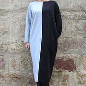 Одежда ручной работы. Ярмарка Мастеров - ручная работа Черно-серое осень зима макси миди платье, кафтан, большие размеры. Handmade.