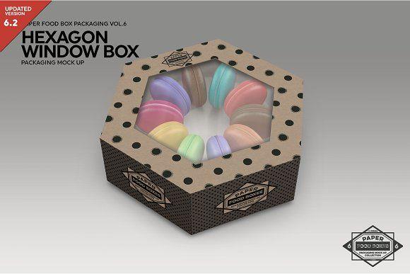 Download Hexagon Window Box Mockup Box Mockup Free Packaging Mockup Food Box Packaging