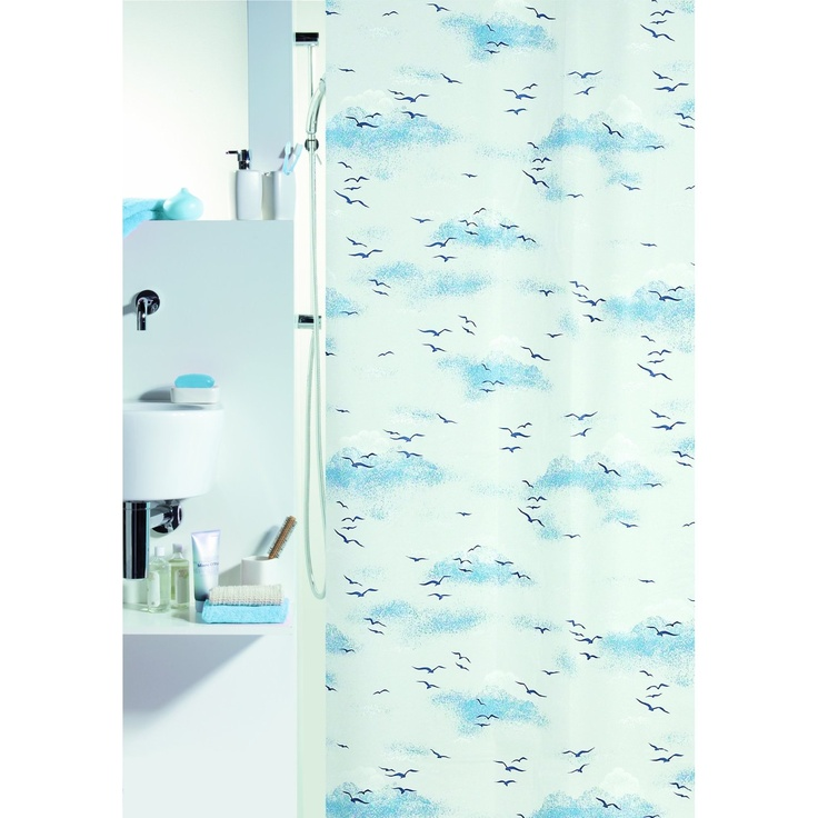 spirella annick sorrento plastic shower curtain 100 blue white 180 cm x 200 cm