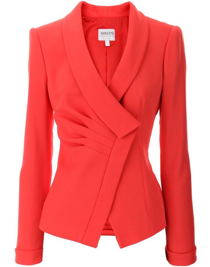 xo • C J A E X O S | @ Pinterest   ⊑•J•⊒ Armani Collezioni Coral Diagonal Ruffled Blazer