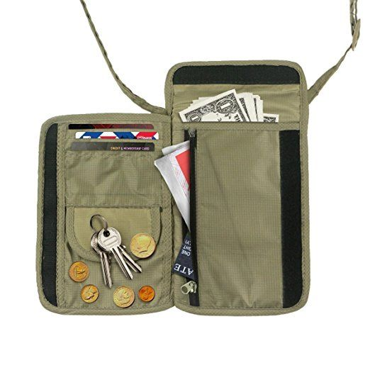Travel Inspira Passport Holder Neck Pouch Wallet Foldable