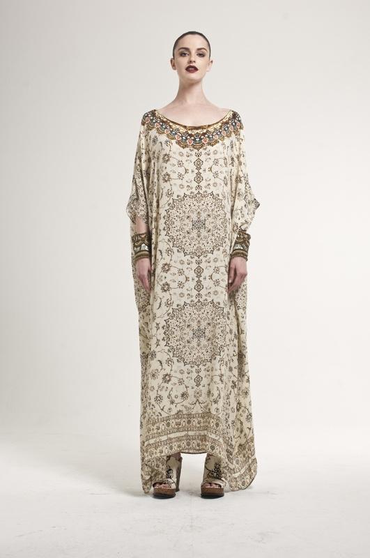 HAREM ROUND NECK KAFTAN - Like minimal fabric with unique centered textile design.