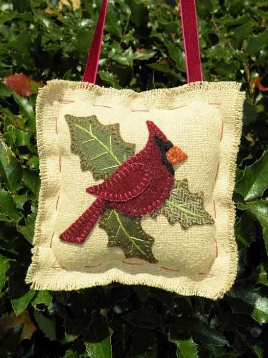 Wool cardinal ornament