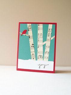Carte de Noël - la main Card - carte de voeux de vacances - bouleaux, forêt d'hiver, oiseau rouge, musique vintage, neige