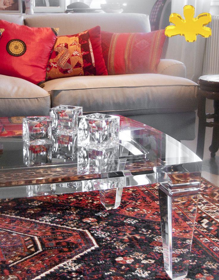 Lucite Acrylic coffe table - TAVOLINI DA SALOTTO IN PLEXIGLASS | Tavolo trasparente in plexiglass 01A.mod.LV1     | Tavolino plexiglas cm.160 x 130 h.40 - telaio sp.mm.50 - gambe sez.mm.80