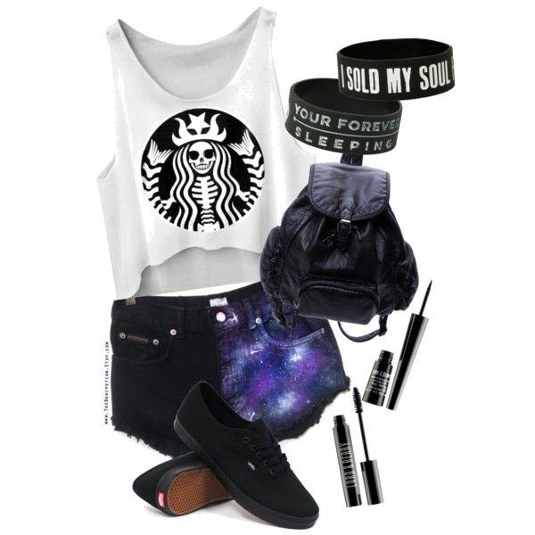 Perfect Warped Tour Outfit by Amaya S. on Polyvore featuring polyvore, fashion, style, Vans and Lord & Berry