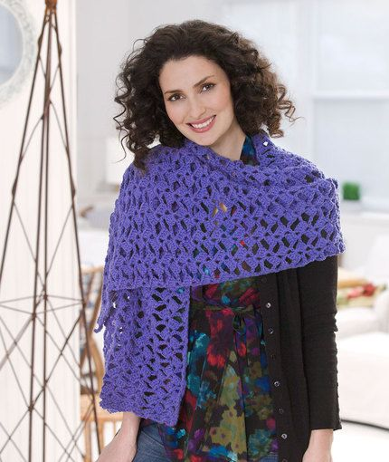 Romantic Lacy Shawl Free Crochet Pattern in Red Heart Yarns