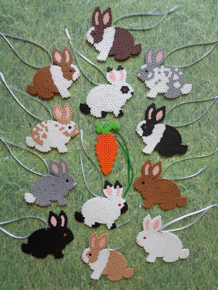 Ornements de décoration de Perler Bead Bunny par 4BunniesBeading