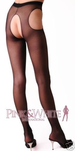 Sheer Suspender Pantyhose Hosiery Open Crotch Open Sides Crotchless Lingerie