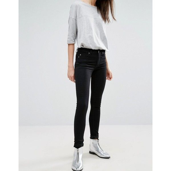 Cheap Monday Prime Mid Rise Skinny Jeans (750 ARS) ❤ liked on Polyvore featuring jeans, black, skinny fit denim jeans, skinny jeans, tall jeans, super skinny jeans and flap-pocket jeans