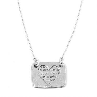 Heart Necklace in Siilver - available in gold and silver. $30. #silvernecklace #silverjewelry #lovenecklace #quotenecklace #quote #heartnecklace #valentines #love #jewelrygift #valentinesdaygift #foxyoriginals