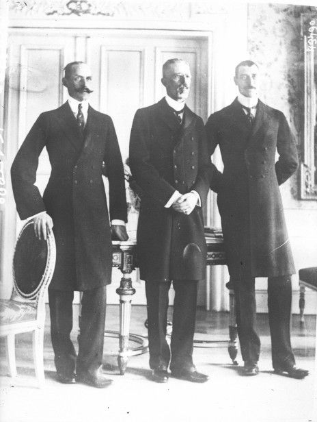 Meeting of the three kings in Malmö, 18 December 1914: Haakon VII of Norway, Gustaf V, and Christian X of Denmark.