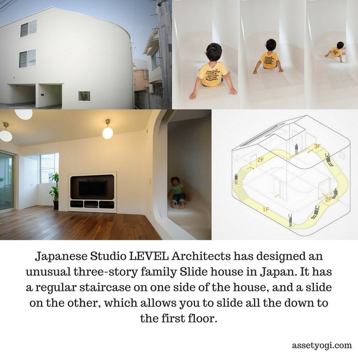 Japanese Studio LEVEL Architects has designed an unusual three-story family Slide house in Japan. It has a regular staircase on one side of the house, and a slide on the other, which allows you to slide all the down to the first floor.  #RealEstate #Architecture #AssetYogi