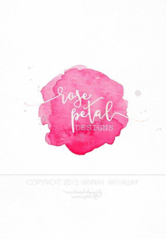 Neon Hot Pink Watercolor Premade Logo Item 142bk