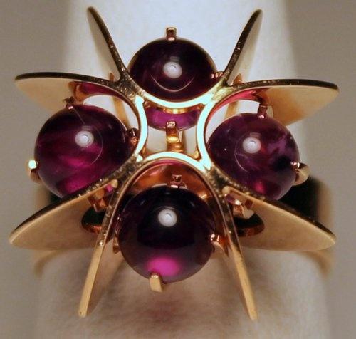 Kupittaan Kulta Elis Kauppi Art Deco 14K Gold and Amethyst Cabochon Ring  #EB710