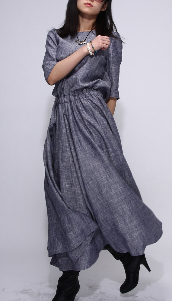 CONCEPTS ~ Gray Linen dress fashion long woman dress ... gorgeous in its simplicity