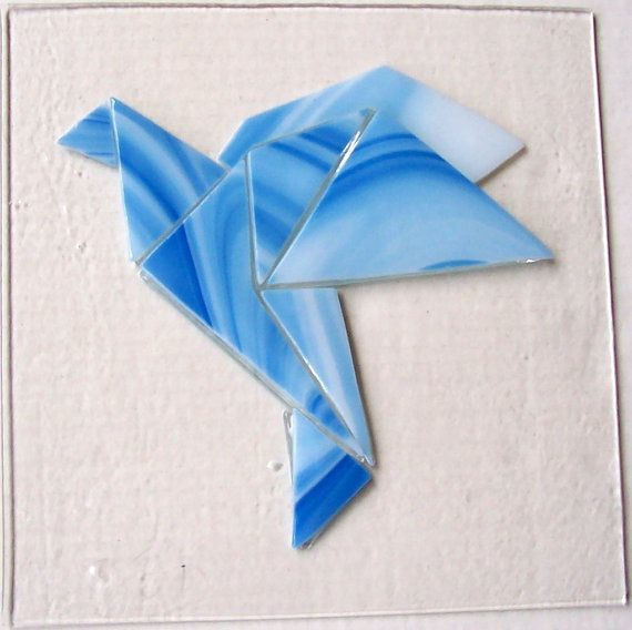 Stained Glass Window, Origami Dove, Fused Glass Panel, Peace Symbol, Flying Bird, Blue Glass, Asian Art, Home Decor, Suncatcher