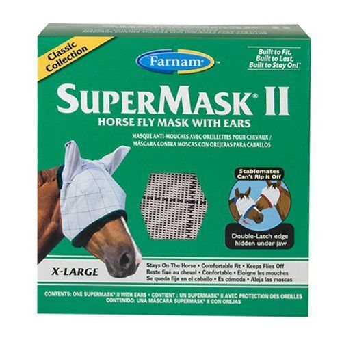 Farnam Home and Garden 100504653 Fly Supermask II for Horse, X-Large by Farnam Home & Garden. $26.99. Does Not Obstruct Vision. Double Latch Design Is Difficult for Horses To Remove. Size Extra Large. Comfortable. Offers Up Protection and Protection From Flies, Dirt and Dust. Farnam 100504653 super mask protects horses from flies, up rays, dust and dirt without obstructing vision. Under-the-jaw strap design is more difficult for other horses to remove. Double latch closure keeps ...