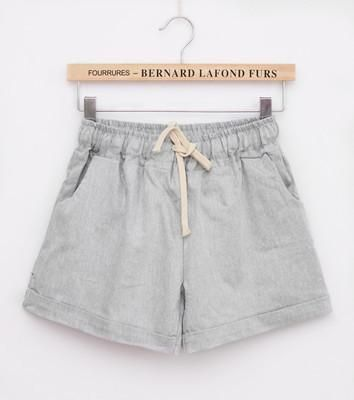 Summer Casual Solid Cotton Shorts Preppy Candy Colors High Waist Loose Beach Shorts Streetwear Pants Gray One Size
