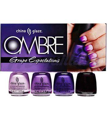 China Glaze - *OMBRE* - set de 4 esmaltes 14ml + 10 esponjas - Grape Expectations
