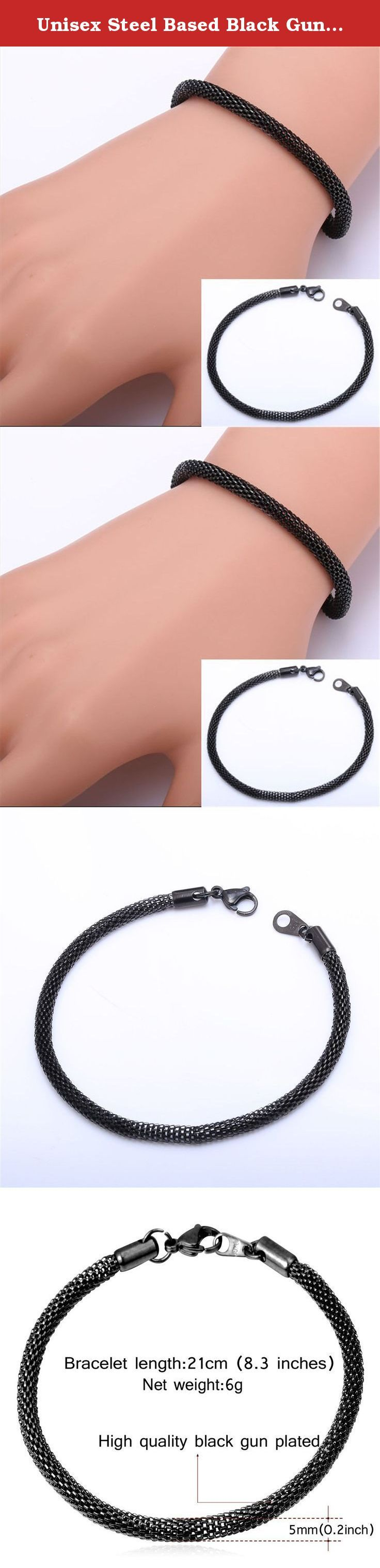 """Unisex Steel Based Black Gun Plated Mesh Chain Bracelet. stainless steel, also known as inox steel or inox from French """"inoxydable"""", is a steel alloy with a minimum of 10.5% chromium content by mass. Material:Stainless steel based,18k gold/black gun plated. Chain type: mesh chain Chain width:5mm Advantage of stainless steel Never fade endurable:Stainless Steel jewelry does not tarnish and oxidize, which can last longer than other jewelries. High polished and economic You can wear it…"""