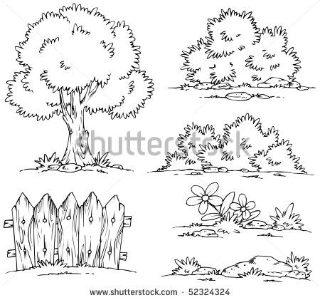 Cartoon Landscape Clipart - Coloring