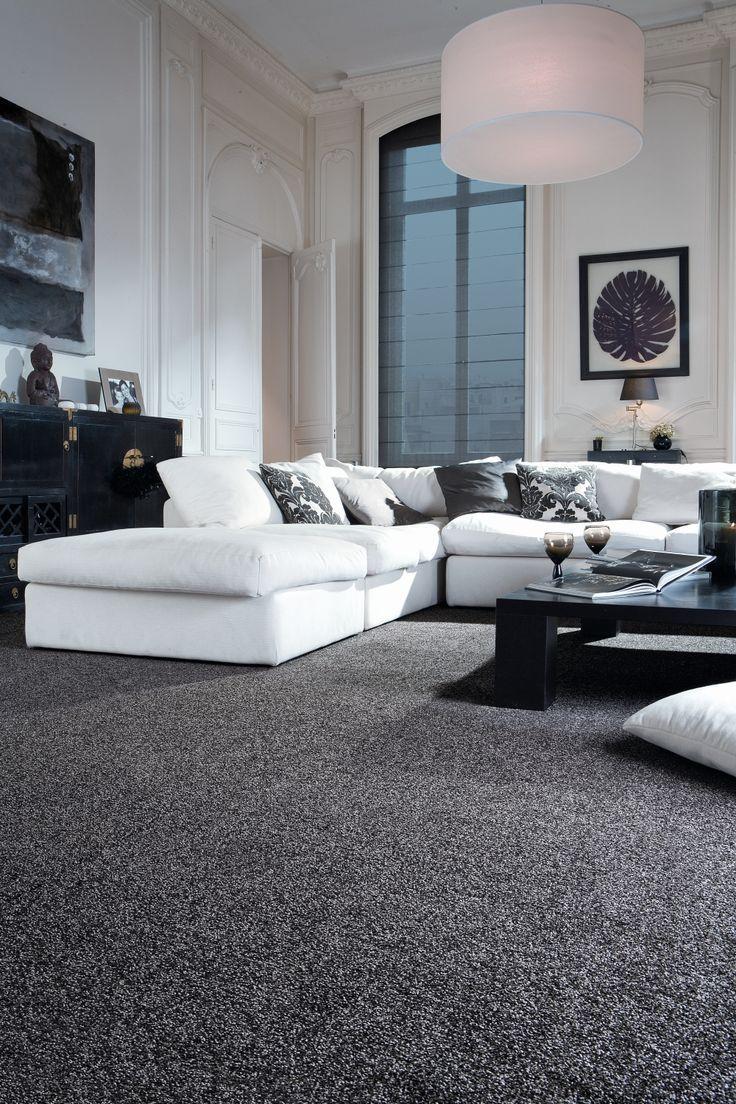 living room ideas carpet  White living room decor, Grey carpet