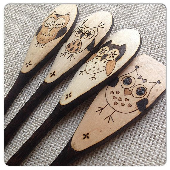 Custom Wood Burned Spoons, Whimsical Owls, set of 4