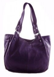GENUINE LEATHER 3 Compartment Functional Medium Size Tote Purse Handbag Purple