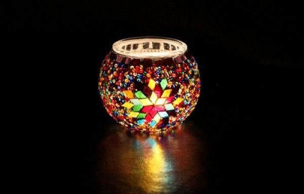 Mosaic Candle Holder, Multi-color , Boho Decor, Boho Candle Holder