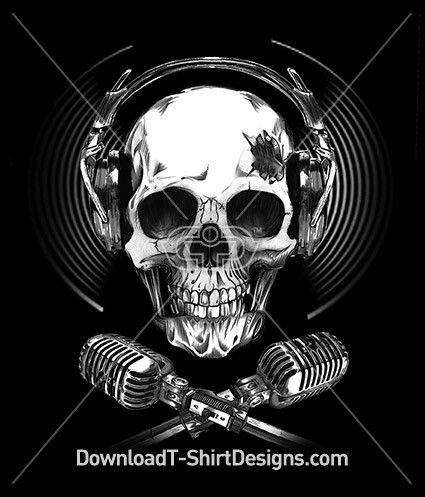 Headphone Microphone Music Skull. Download this design and print on your T-Shirts or products today at: http://downloadt-shirtdesigns.com/downloadt-shirtdesigns-com-2122892.html