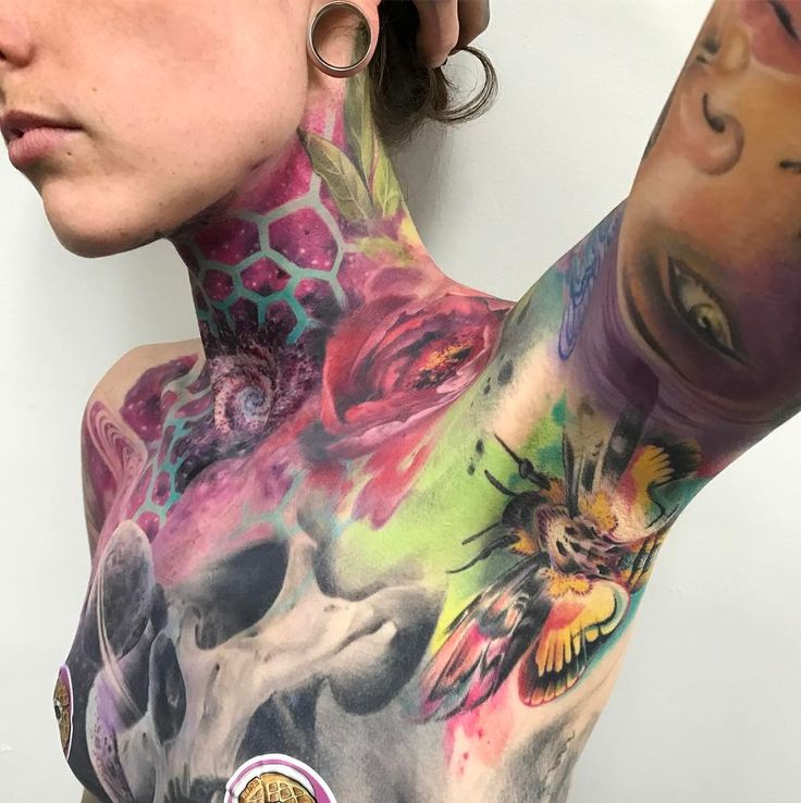 """17.2 tuhatta tykkäystä, 174 kommenttia - Samantha ford silver needles (@sam_ford_tattoos) Instagramissa: """"Love this girl!! Love how vibrant her death moth healed too.  Did some more work on her throat…"""""""