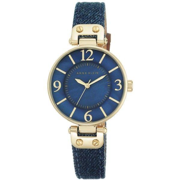 Anne Klein Women's Dark Denim Strap Watch 34mm 10/9168BMDD ($49) ❤ liked on Polyvore featuring jewelry, watches, gold, deep blue watches, yellow gold watches, gold wristwatch, gold wrist watch and blue dial watches