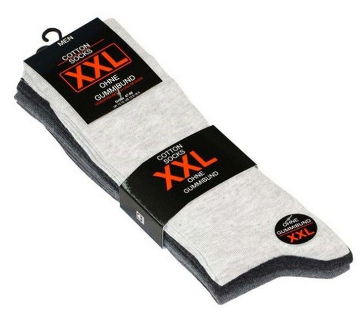 Herren Socken Größe 47-50 im 3er Pack ohne Gummi Grautöne !