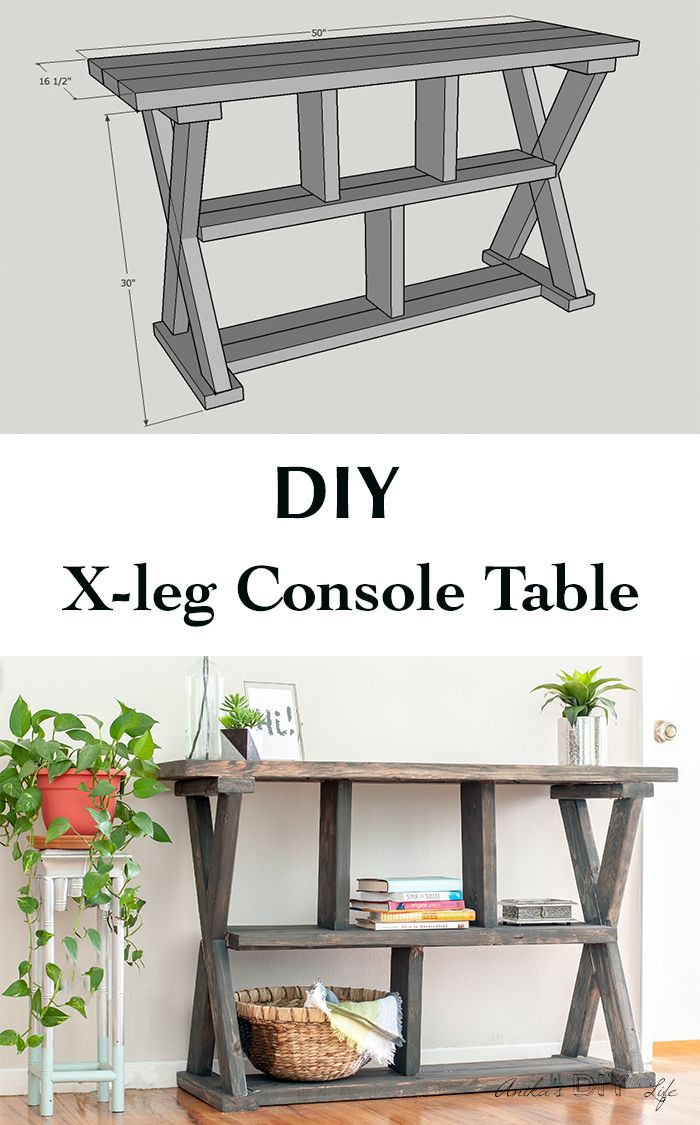 DIY Rustic X-leg Console table that is easy and quick to build with the Free plans. This DIY Entryway table with shelves is made using structural 2x4 and 2x6 lumber so it's great for your budget too! #woodworking