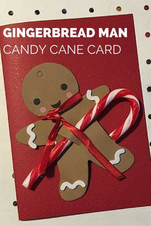 gingerbread man with candy cane card