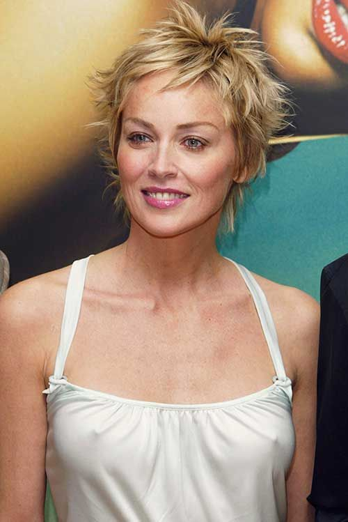 Sharon Stone Casual Pixie Hair
