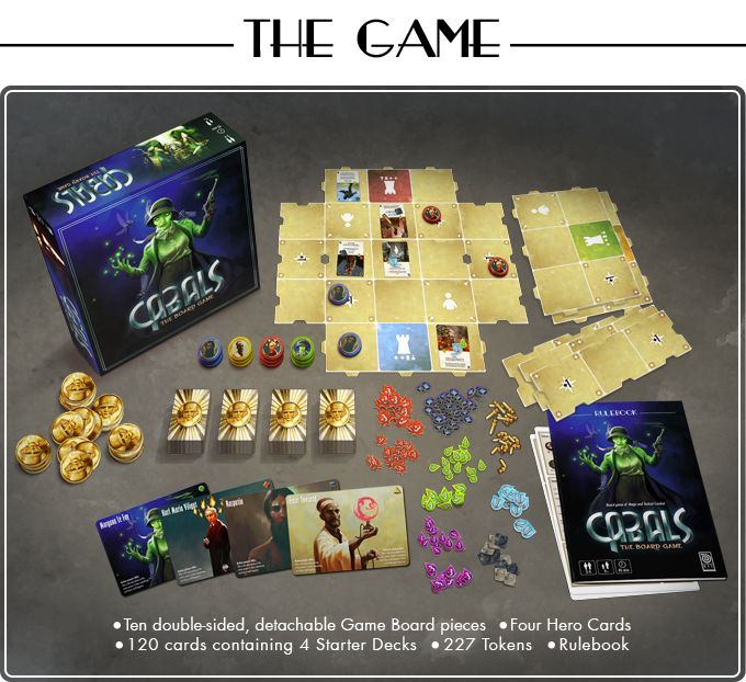 Cabals: The Board Game box contents