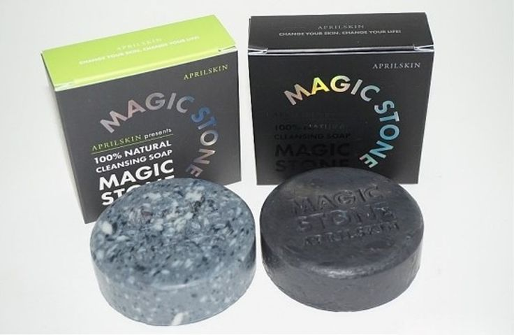 April Skin MAGIC STONE 100% Natural Cleansing Soap Original & Black (1+1) #Aprilskin