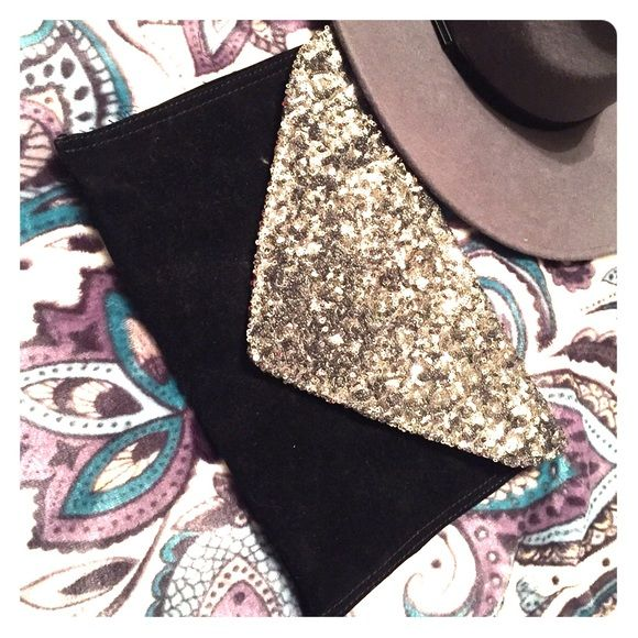 Sparkle Velvet Clutch Got this at cotton no and I've never used it. The strap is a long metal chain Bags Clutches & Wristlets