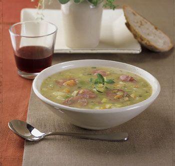 Sausage and Leek Soup Recipe   Epicurious.com
