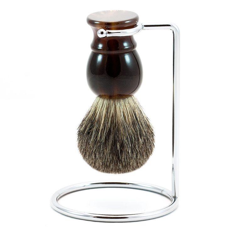 Pure Grey Badger Shaving Brush, Imitation Tortoise & Metal Stand