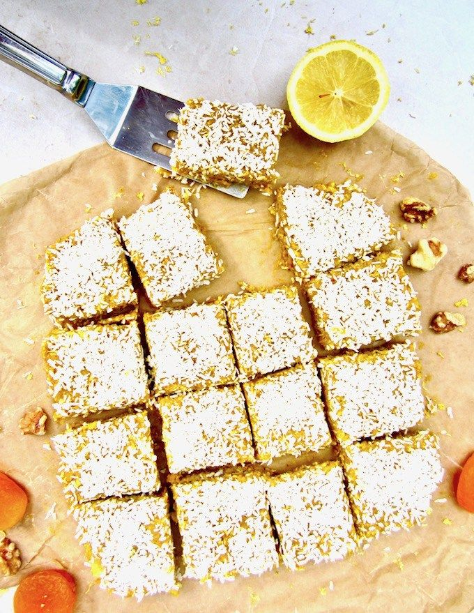 This No Bake Apricot Turmeric Lemon Energy Bars recipe has a lovely citrusy, tangy flavor and make a super healthy sugar free, vegan and gluten free snack! They are an energizing powerhouse filled with fiber, protein, antioxidants and anti-inflammatory properties.   veganchickpea.com