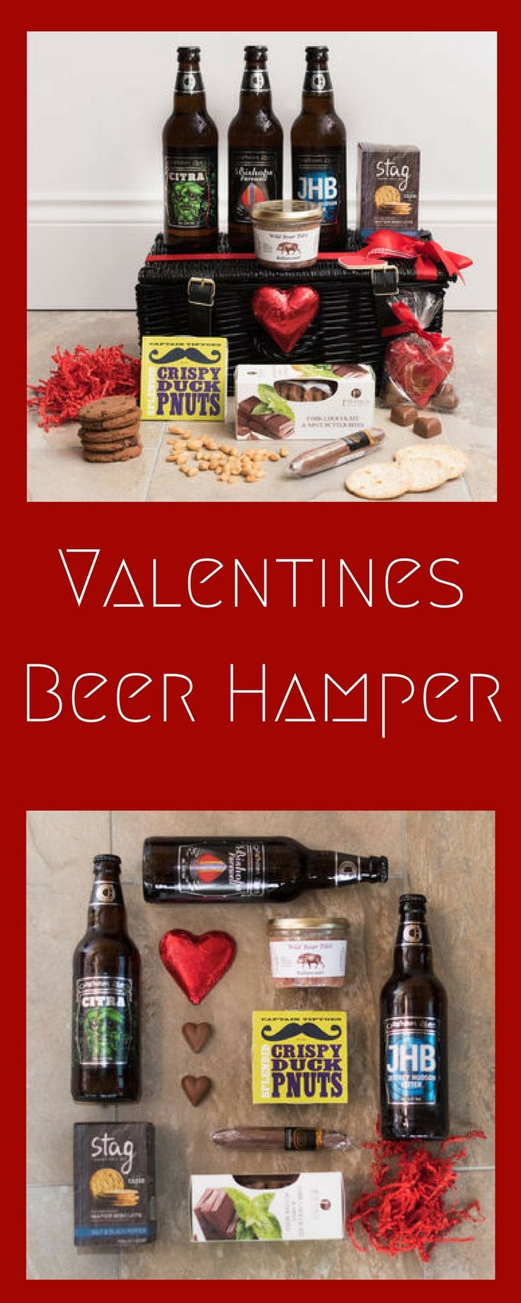 A romantic, artisan Beer and Treats Manper® just for him with irresistible ales, scrumptious treats and chocolates all hand-packed in a black wicker hamper. #ad #commissionlink #valentinesday #valentine #valentinesdaygiftideas #
