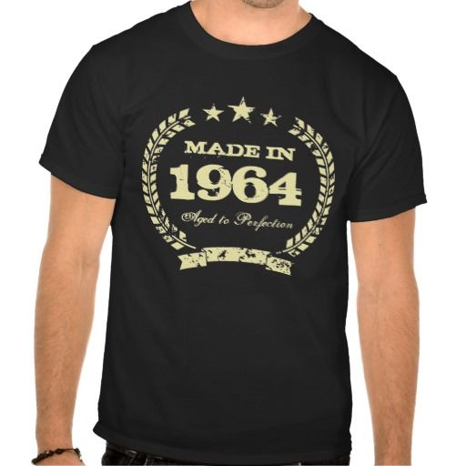 Made in 1964 Aged to perfection t shirt  for 50th Birthday in 2014. Personalizable age year. Customise text to make it a perfect gift. Present for men: dad, brother, husband, uncle, grandpa etc. Cool vintage distressed grunge look design. Cute present idea for fifty year old man. Fiftieth Bday gift. Faux gold colour.